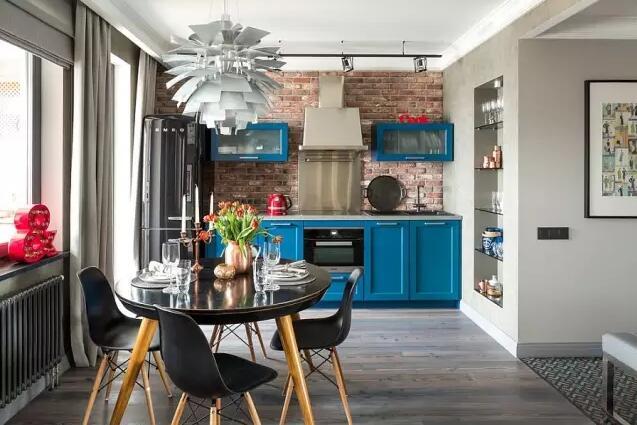 裸砖墙厨房,粗狂外表下的时尚心机